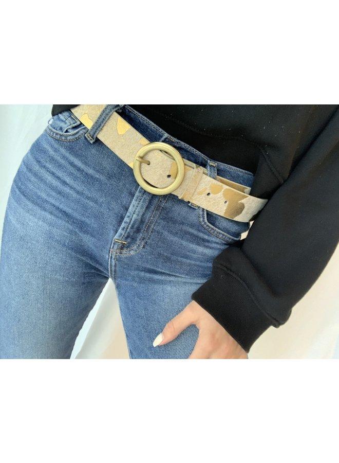 Metallic Cow Print Belt