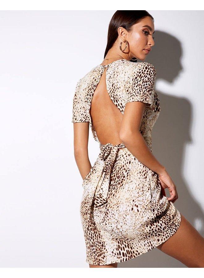 Tina Mini Dress In Crinkle Sand Leopard