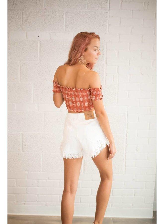 Shimmering Bays Denim Shorts