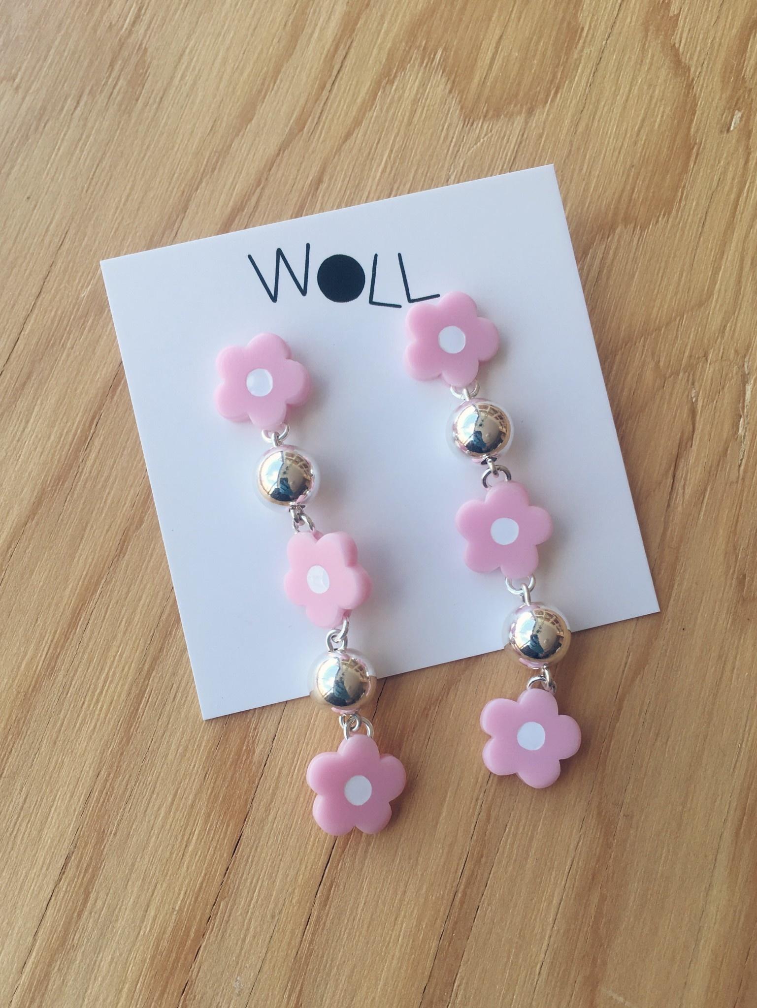 Woll Boucles d'oreilles fleurs lilas et billes