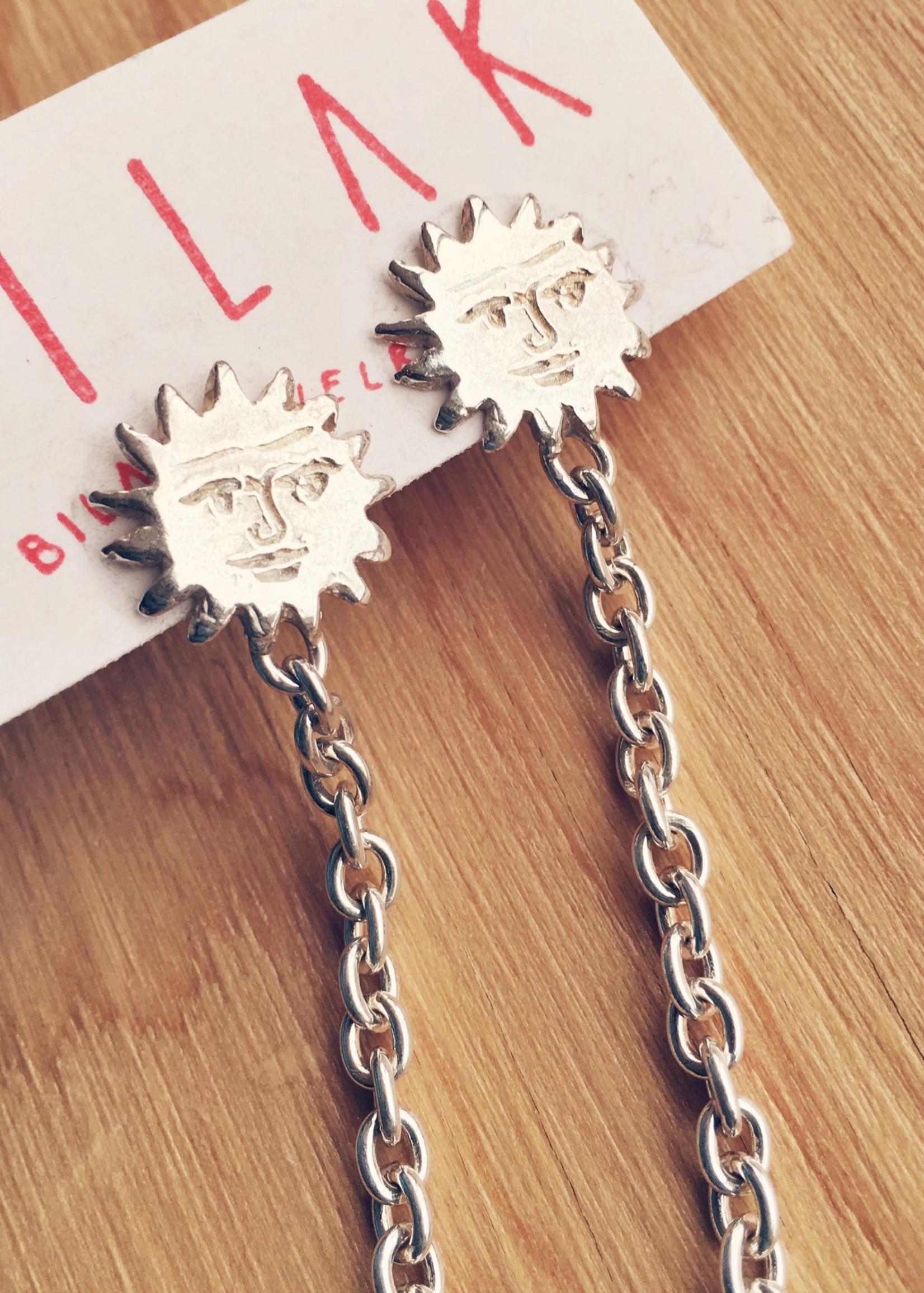 Bilak Jewellery Sun & Chain Earrings