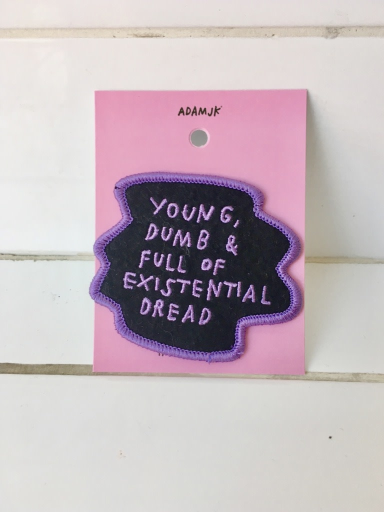 "Adam J Kurtz Appliqué ""Existential Dread"""