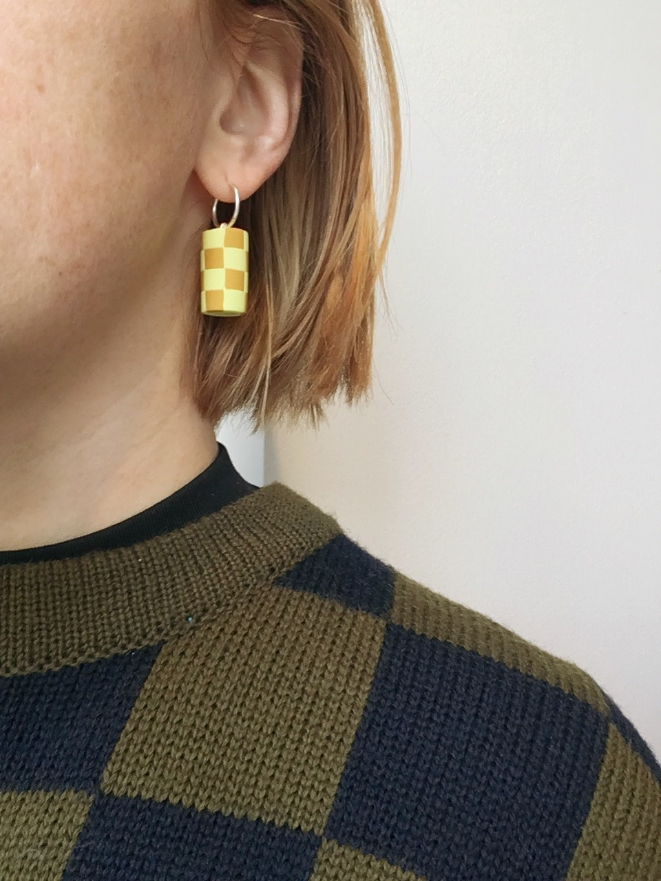Earwack Checker Chunk Earrings