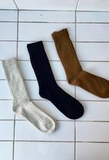 Rototo Chaussette côtelée en coton et laine