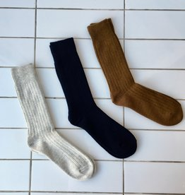 Rototo Cotton and Wool Ribbed Sock