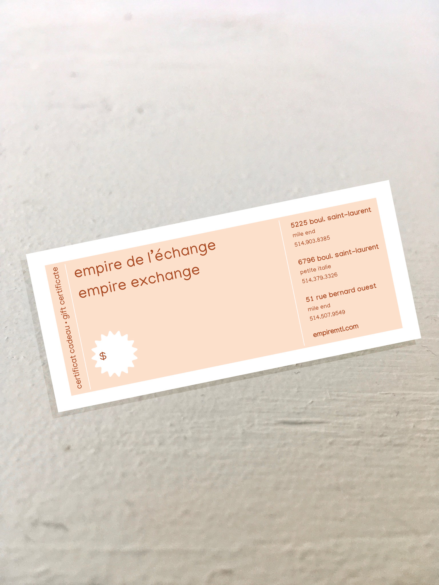 Empire Exchange Certificat Cadeau Empire Exchange