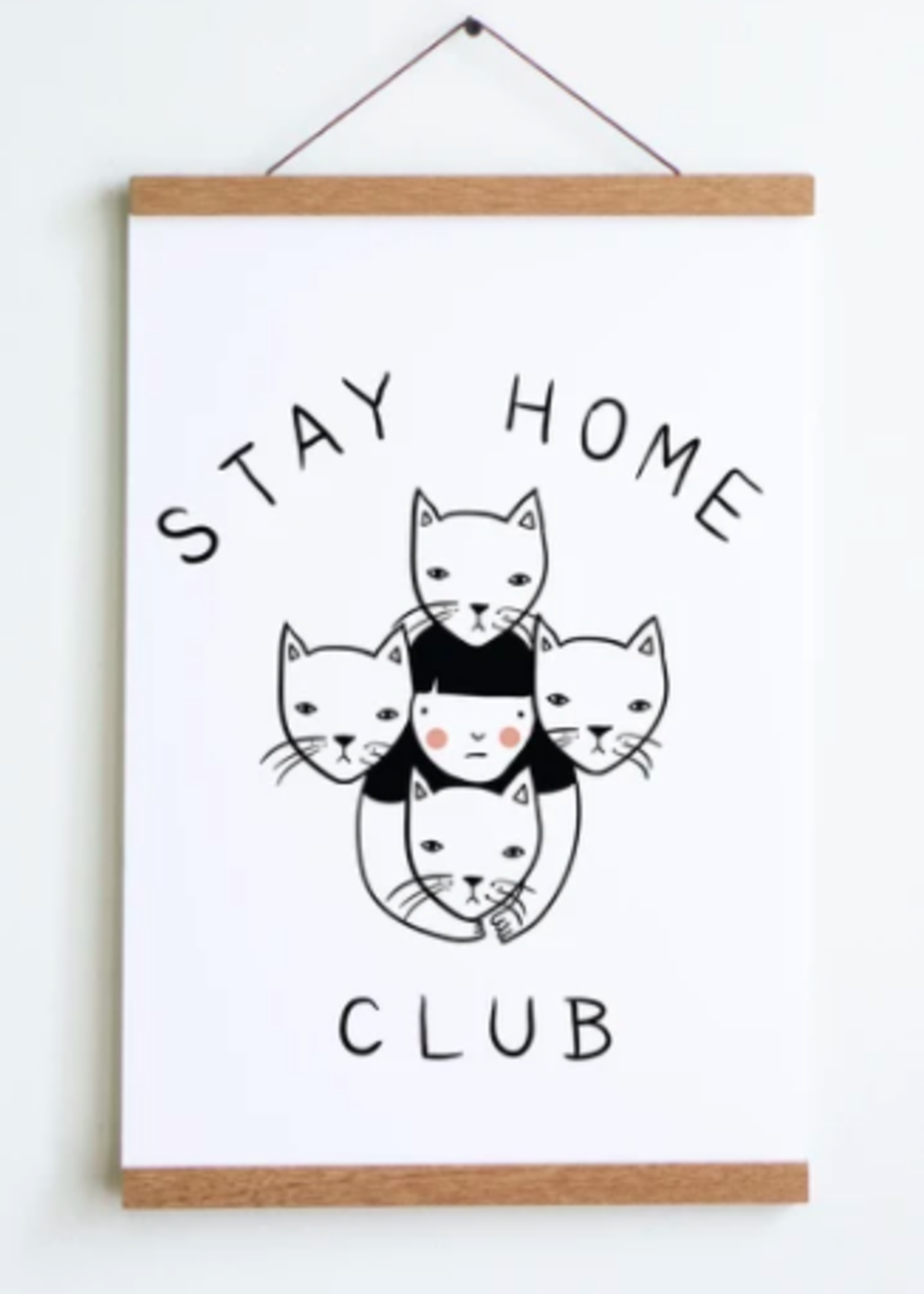 """Stay Home Club Prints with Hangers - 12""""x18"""""""