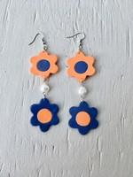 Emma Jewels Fleurs doubles orange et bleu avec perle