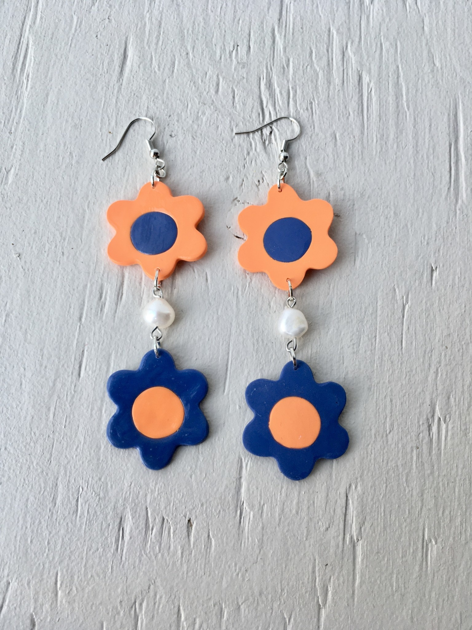 Emma Jewels Orange & Blue Double Flowers With Pearl