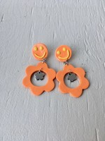 Emma Jewels Orange Smileys With Flower Dangle