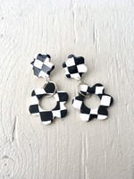 Emma Jewels Black Checkerboard Flower Studs