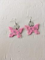 Emma Jewels Pink & Shimmer Checkerboard Butterflies Earrings