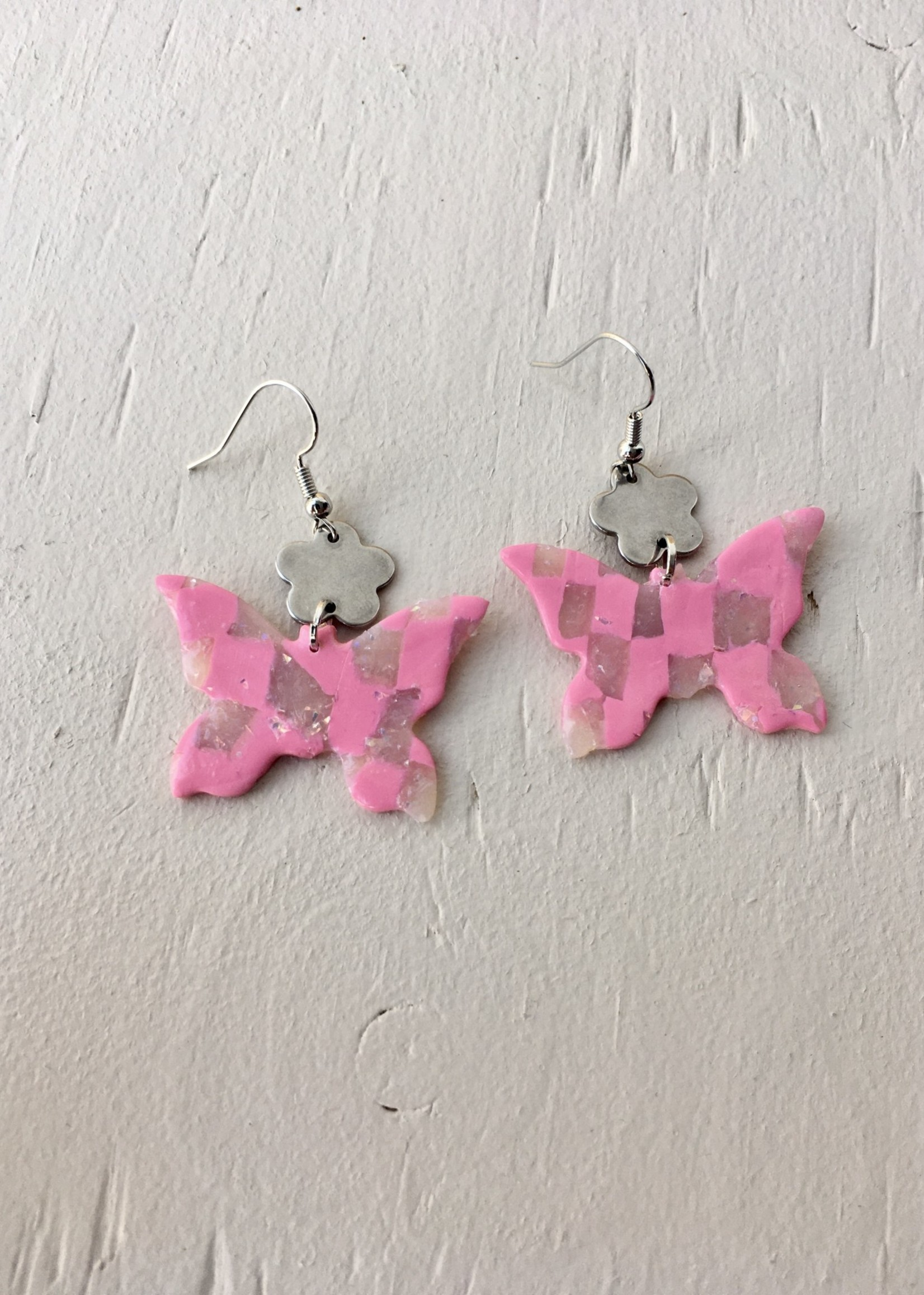 Emma Jewels Pink & Shimmer Checkerboard Butterflies