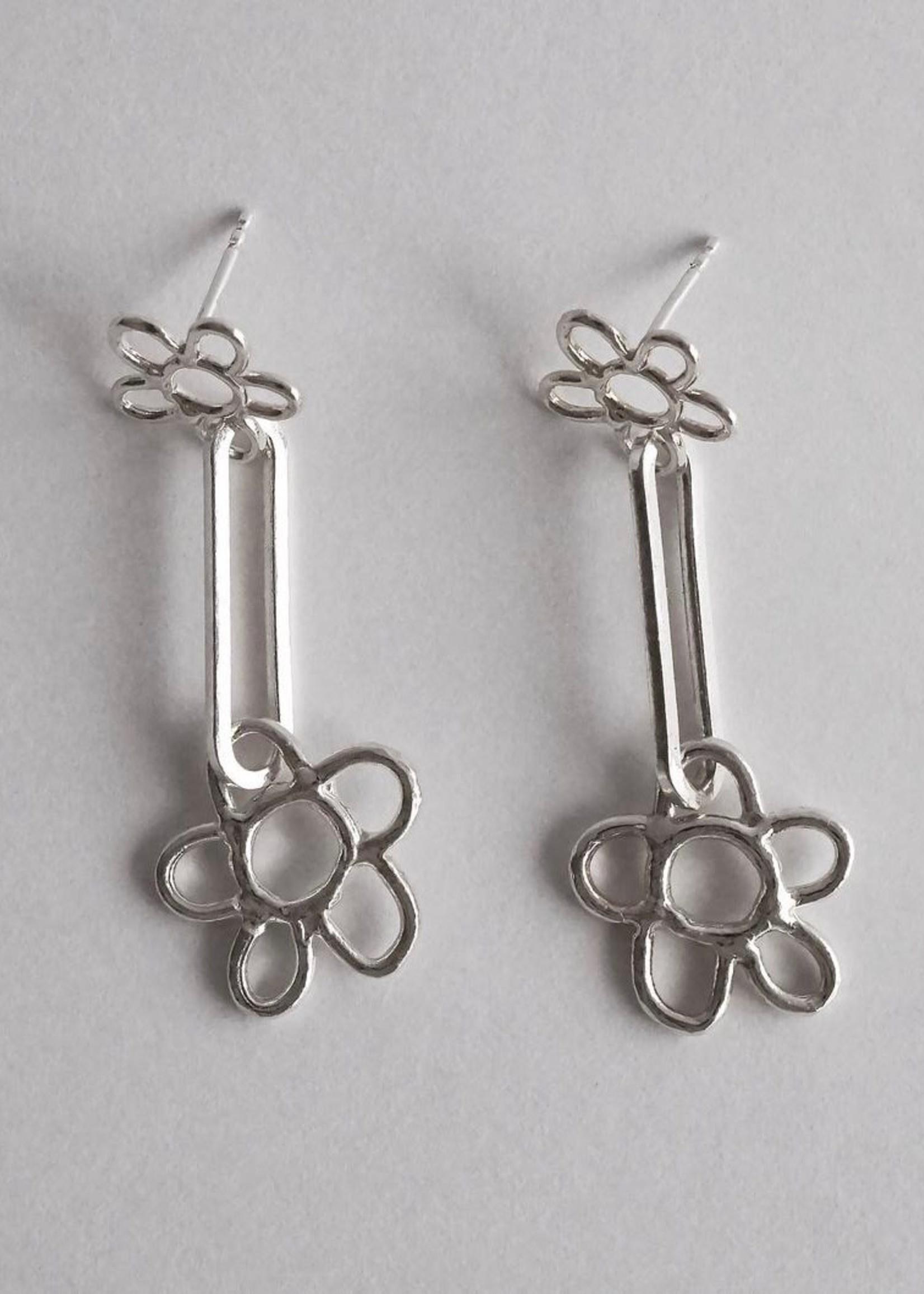 Marmod8 Boucles d'Oreille Argent Double Fleur
