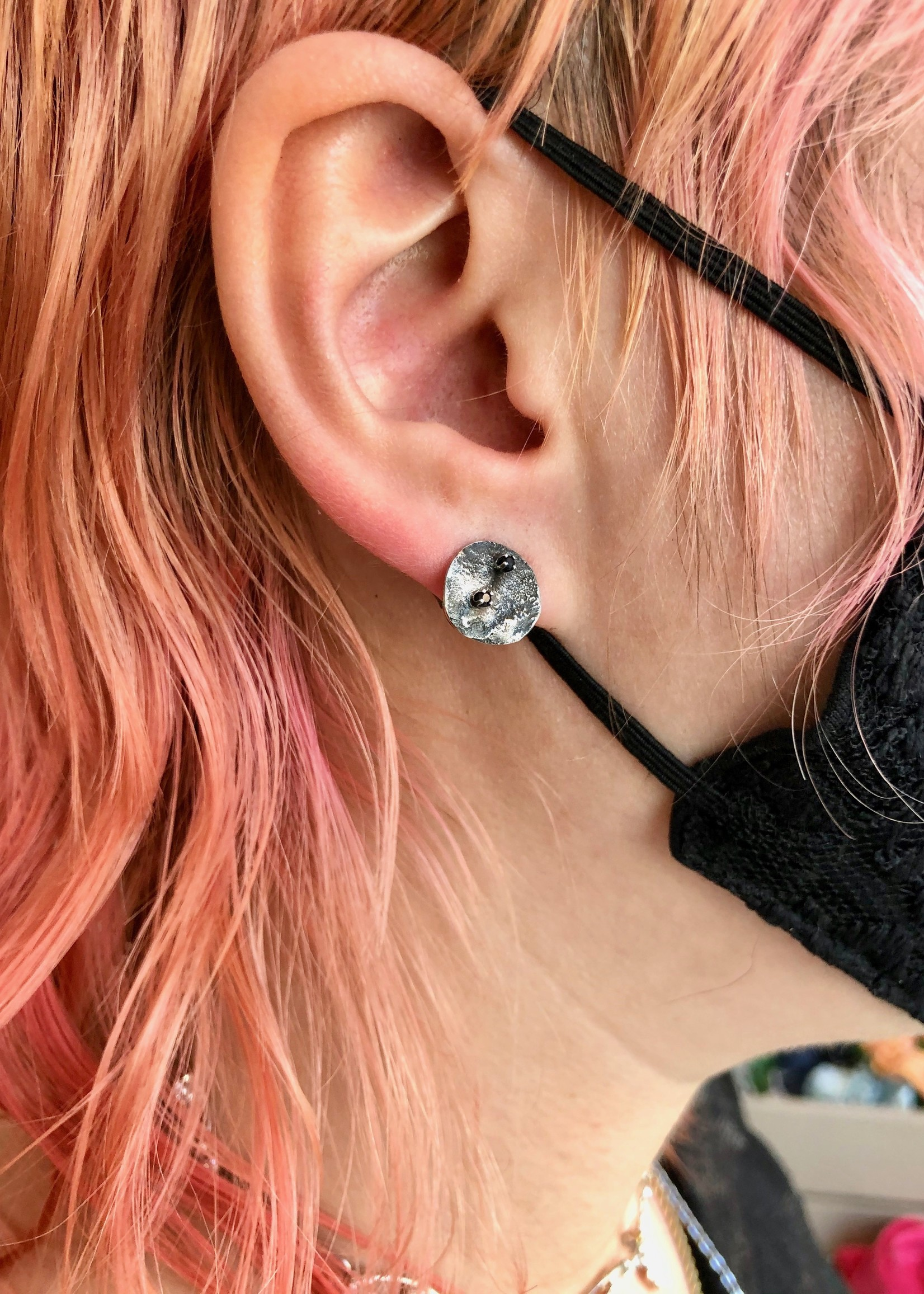 Elaine Ho Black Spinel Moons Earrings