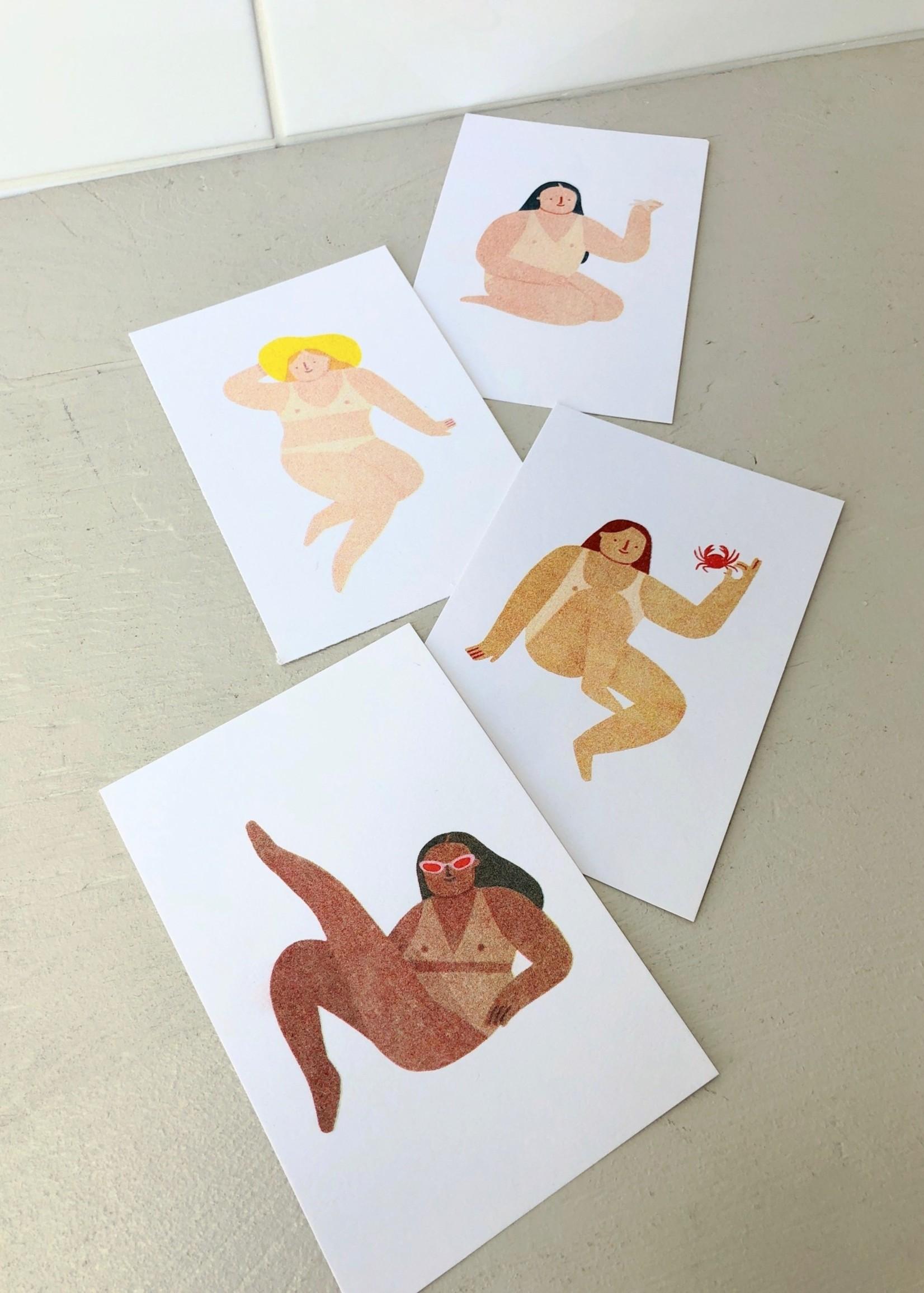 "Stay Home Club Paquet d'affichettes risographe ""Sunbathers"" par Stay Home Club, 10 x 15 cm"