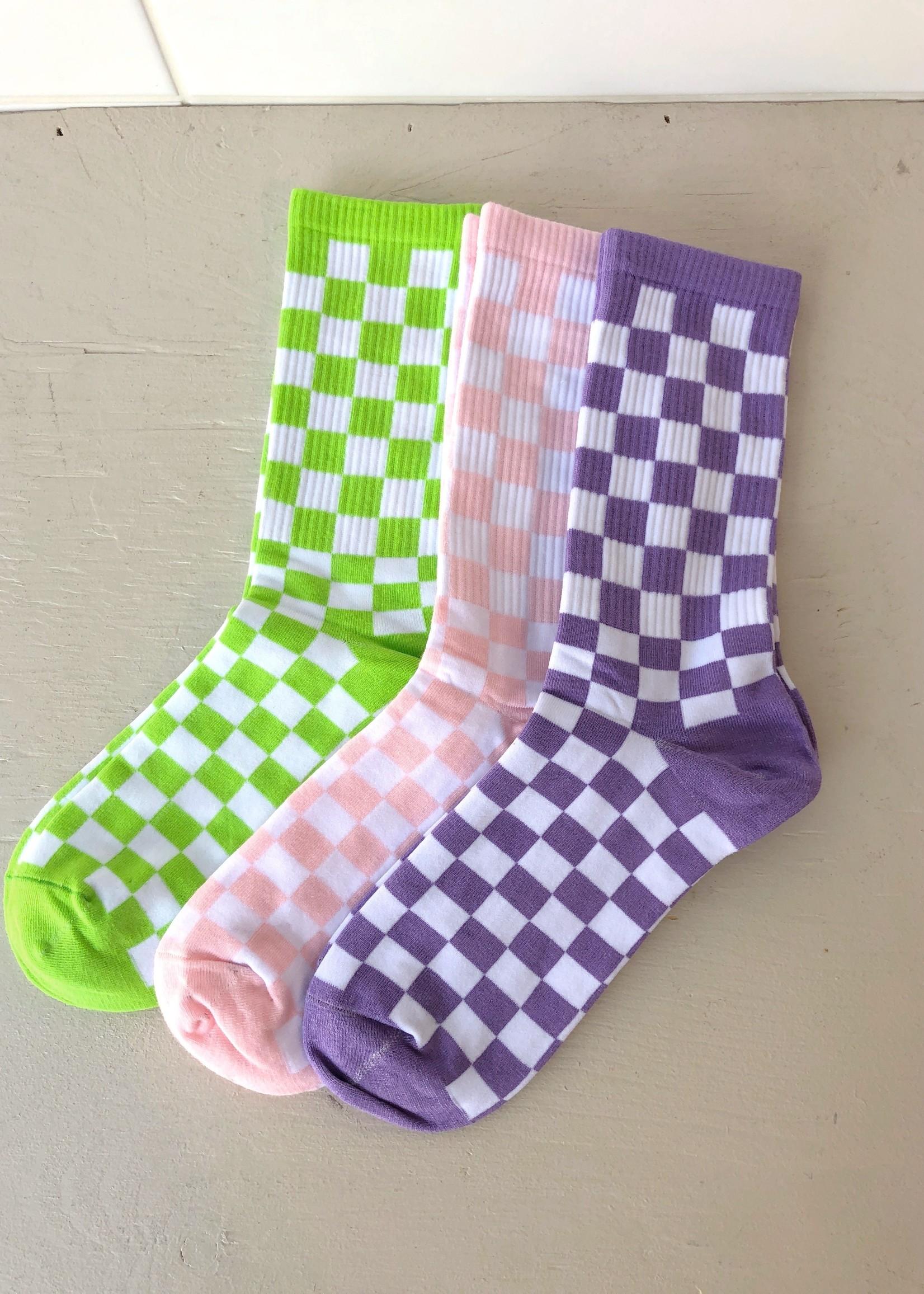Annex Vintage Ribbed Checkerboard Socks by Annex Vintage