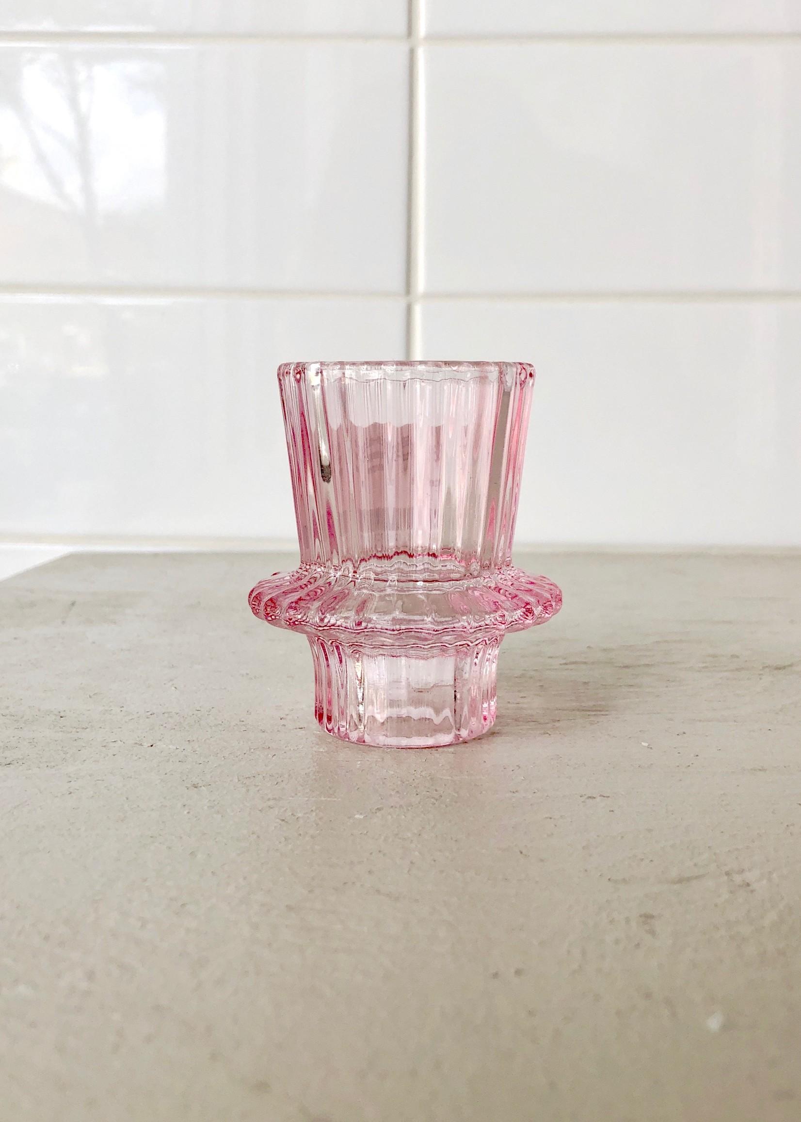 Annex Vintage Pink Glass Candle Holder by Annex Vintage