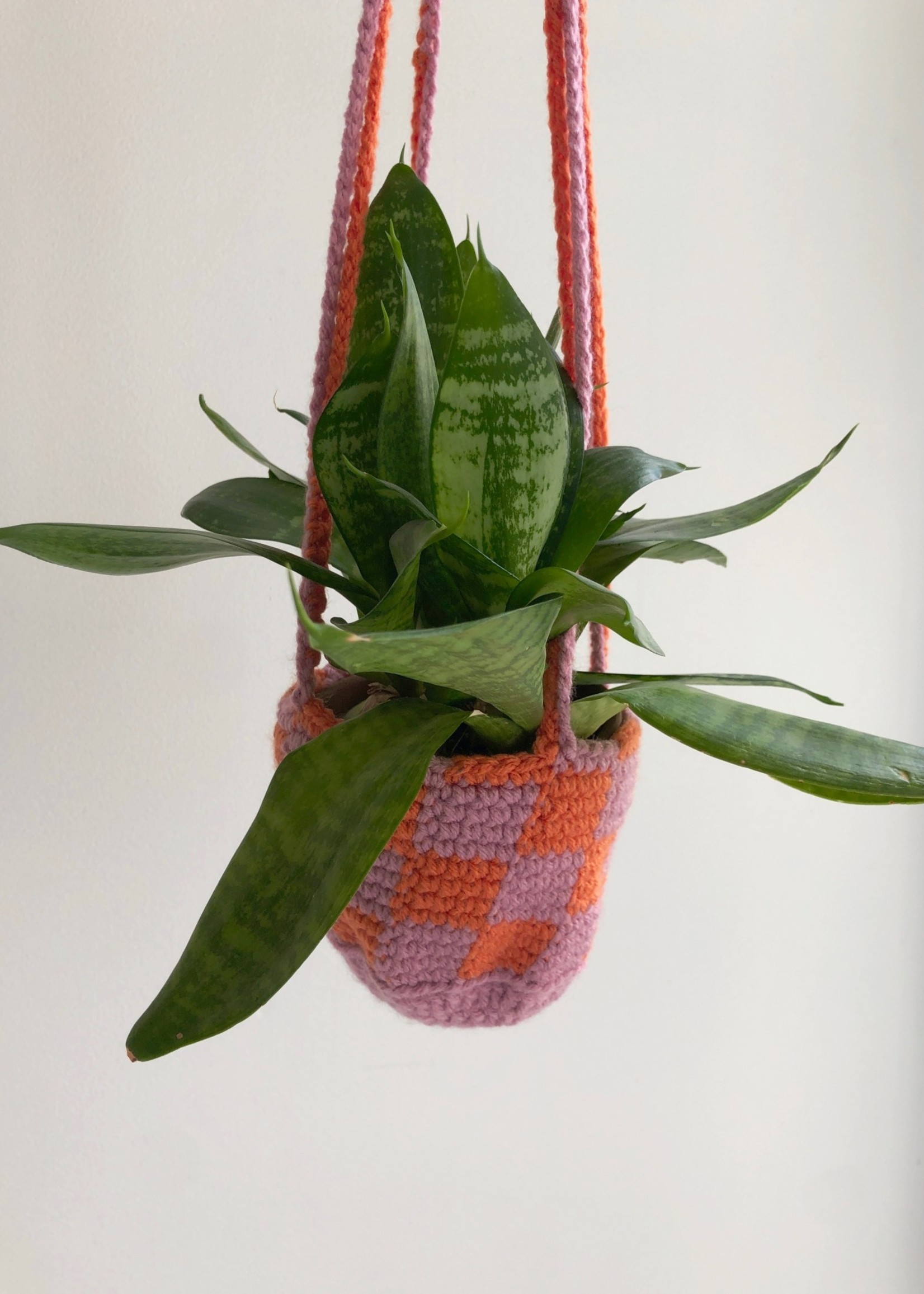 Slow May Checkered Crochet Plant Hangers by Slow May