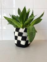 Slow May Checkered Crochet Plant Cozy
