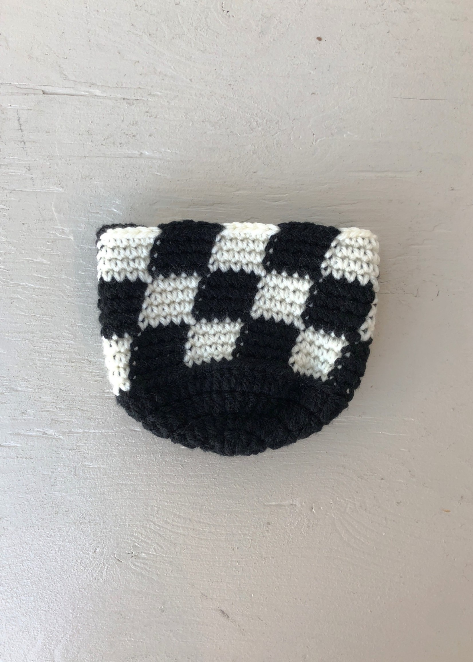 Slow May Small Checkered Crochet Plant Cozy by Slow May