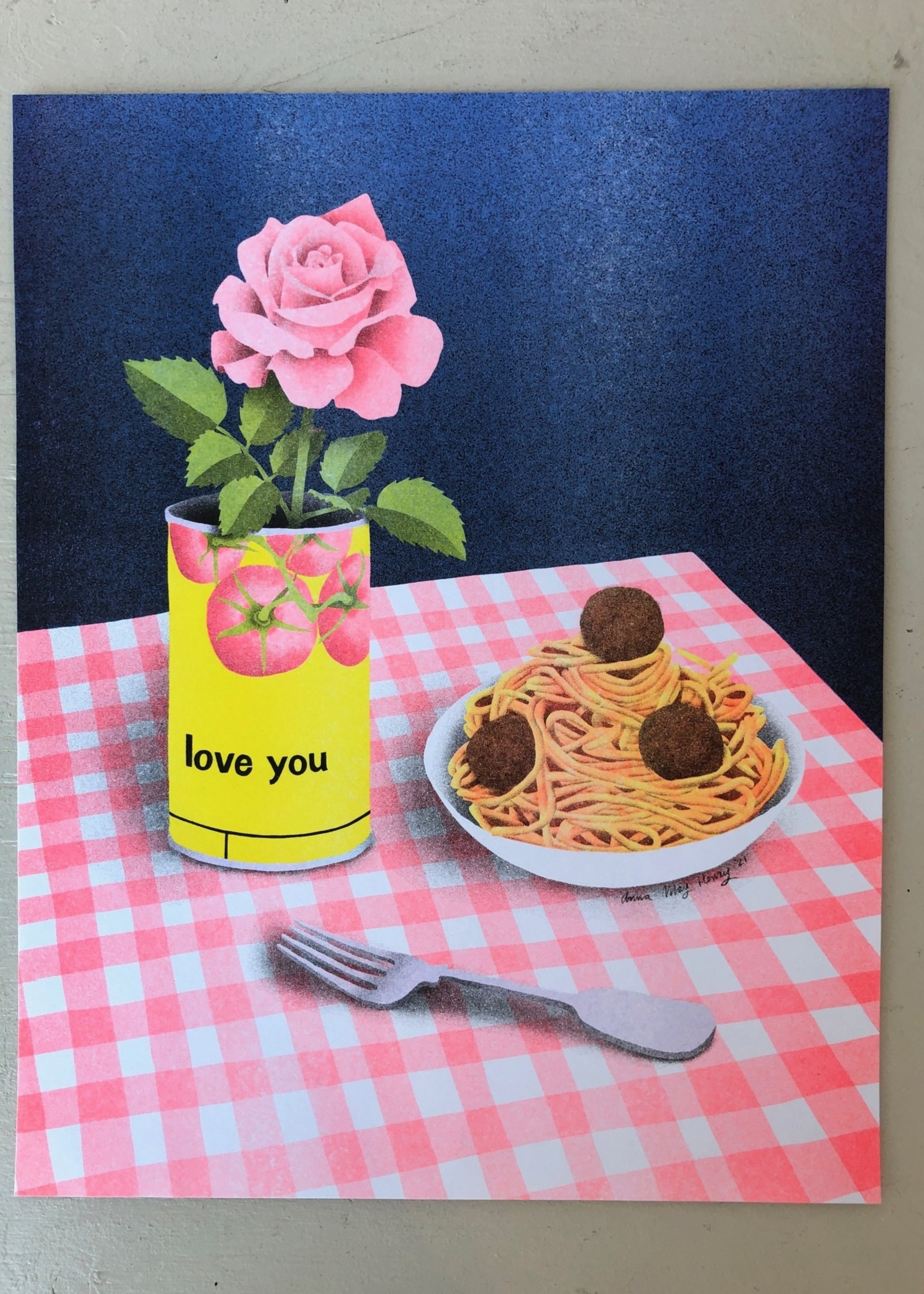 """Anna May Henry Sérigraphie """"Love You"""" par Anna May Henry"""