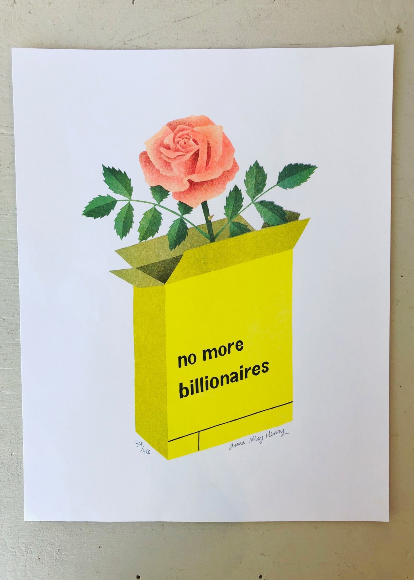 """Anna May Henry Sérigraphie """"No More Billionaires"""" par Anna May Henry"""