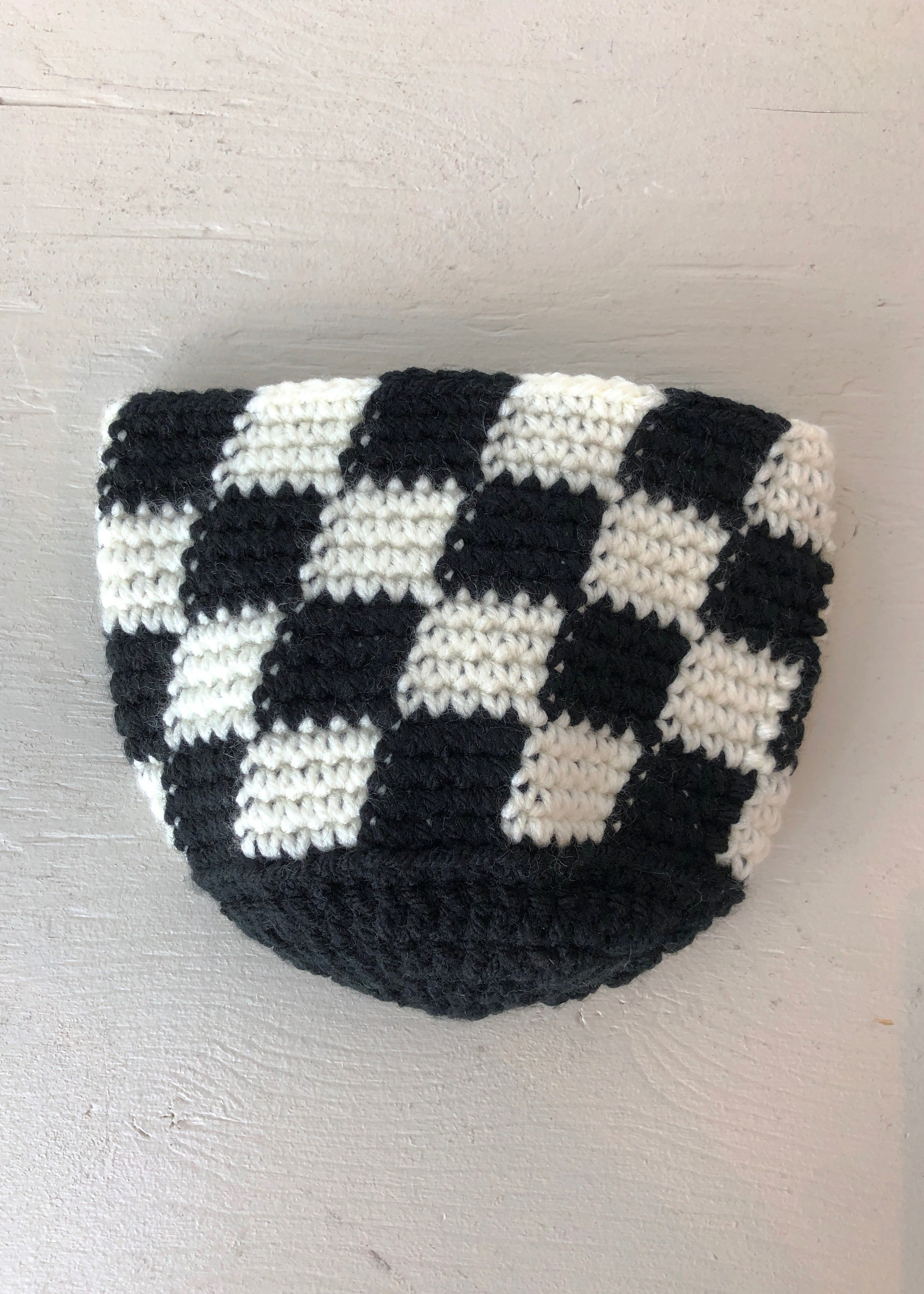Slow May Checkered Crochet Plant Cozy by Slow May