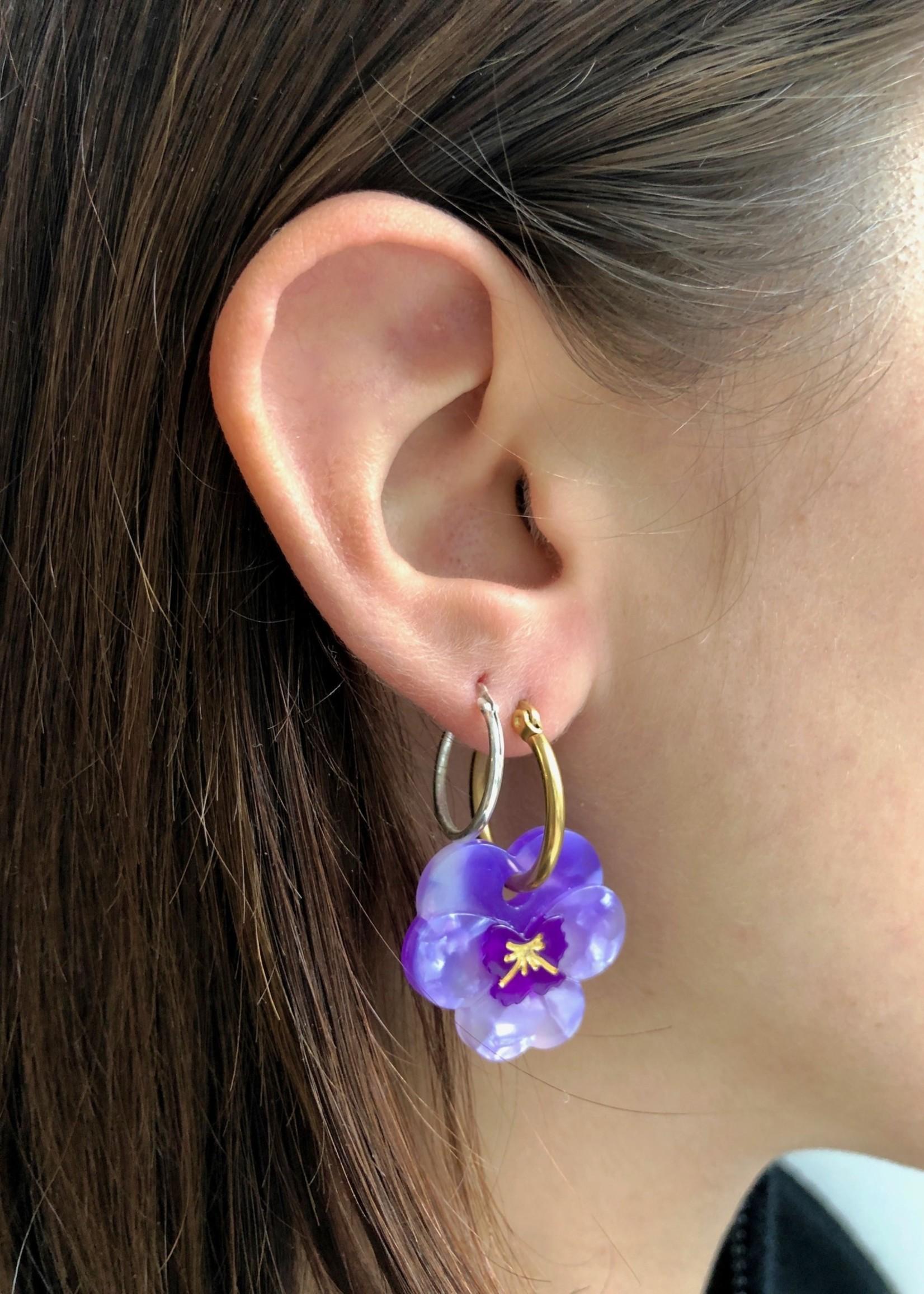 Coucou Suzette Flower Hoop Earrings by Coucou Suzette