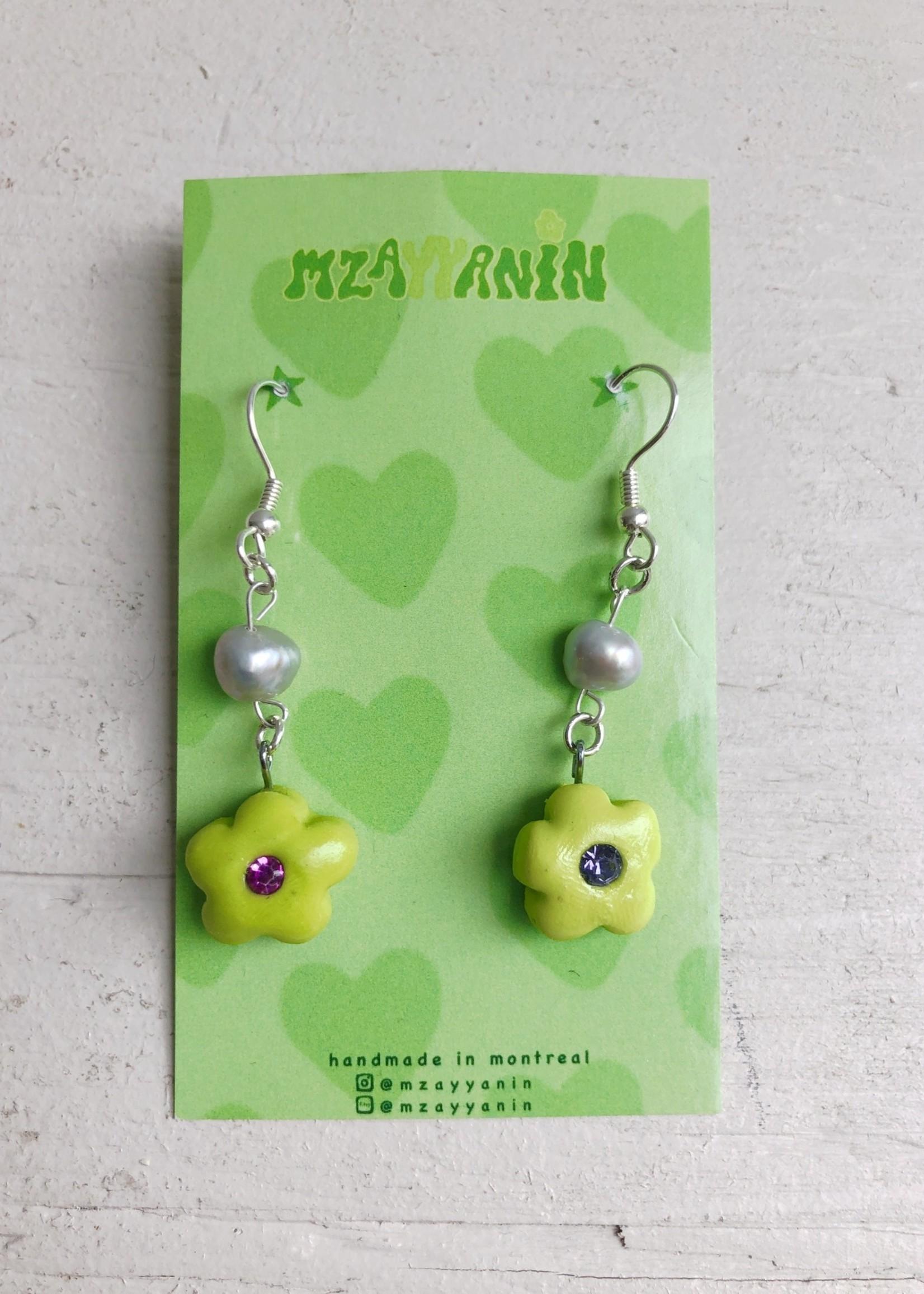 Mzayyanin Flower and Pearl Earrings by Mzayyanin