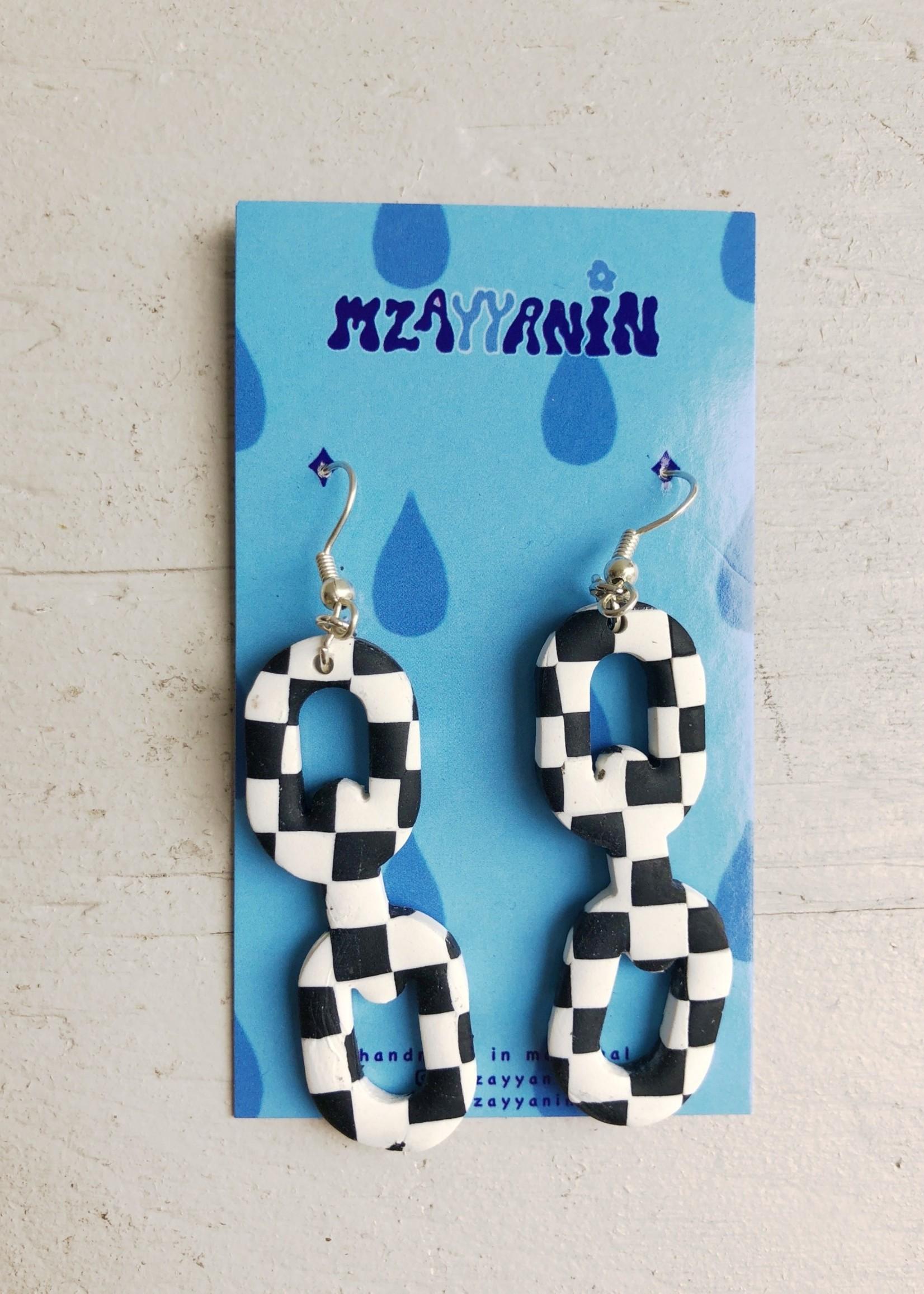 Mzayyanin Chain Check Earrings by Mzayyanin