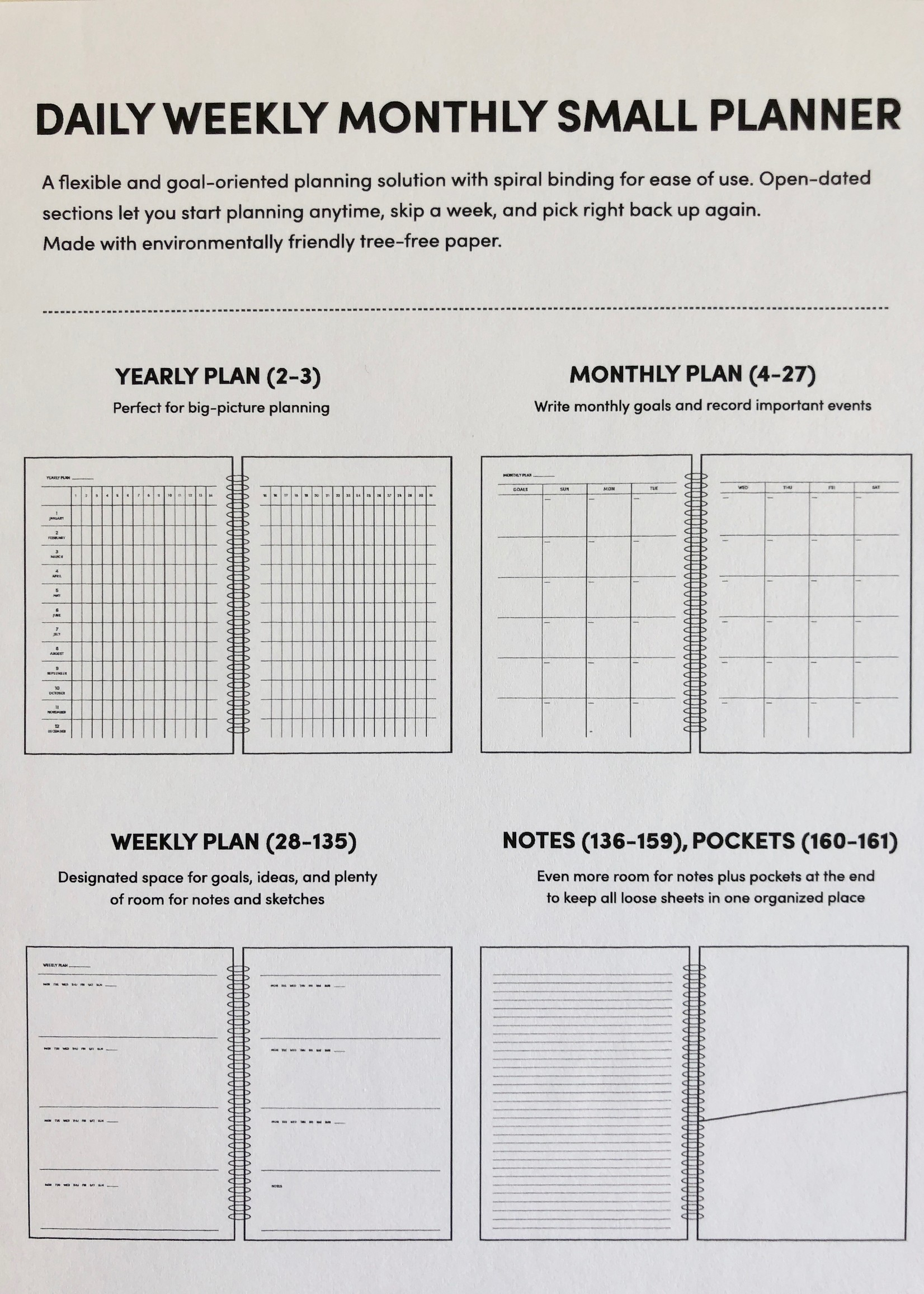 Poketo Daily Weekly Monthly Small Planner in Tubes by Poketo