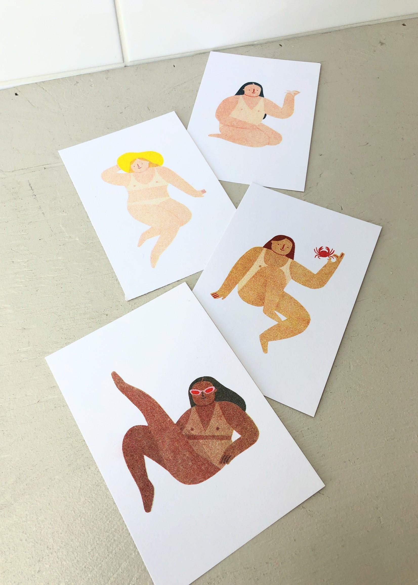 "Stay Home Club Affichettes risographe ""Sunbathers"" par Stay Home Club, 10 x 15 cm"