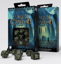 Q-Workshop Call of Cthulhu: Dice Set: Glow in the Dark Black