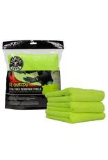 "Chemical Guys MIC32303 - El Gordo Extra Thick Professional Microfiber Towel, Green 16.5"" x 16.5"" (3 Pack)"