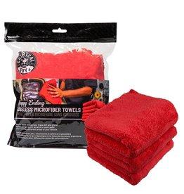 "Chemical Guys MIC34103 - Happy Ending Ultra Plush Edgeless Microfiber Towel, Red 16"" x 16"" (3 Pack)"