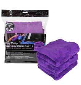 "Chemical Guys MIC34803 - Happy Ending Ultra Plush Edgeless Microfiber Towel, Purple 16"" x 16"" (3 Pack)"