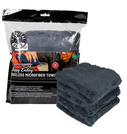 "Chemical Guys Happy Ending Ultra Plush Edgeless Microfiber Towel, Black 16"" x 16"" (3 Pack)"