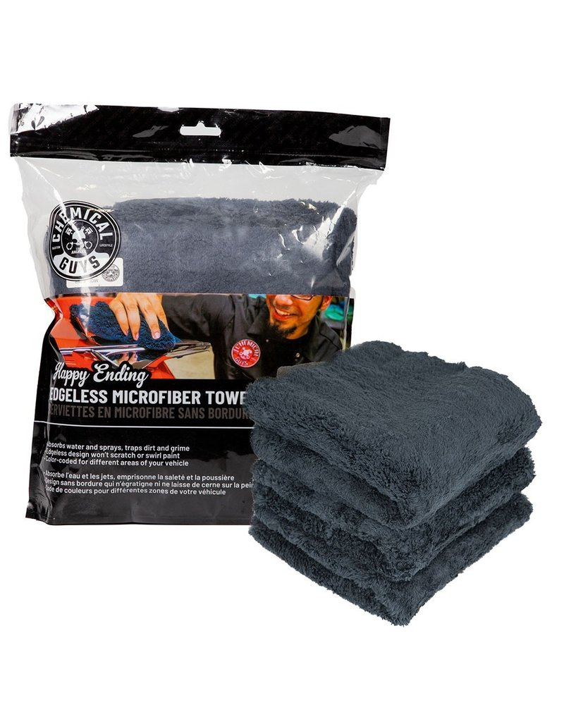 "Chemical Guys MIC34703 - Happy Ending Ultra Plush Edgeless Microfiber Towel, Black 16"" x 16"" (3 Pack)"
