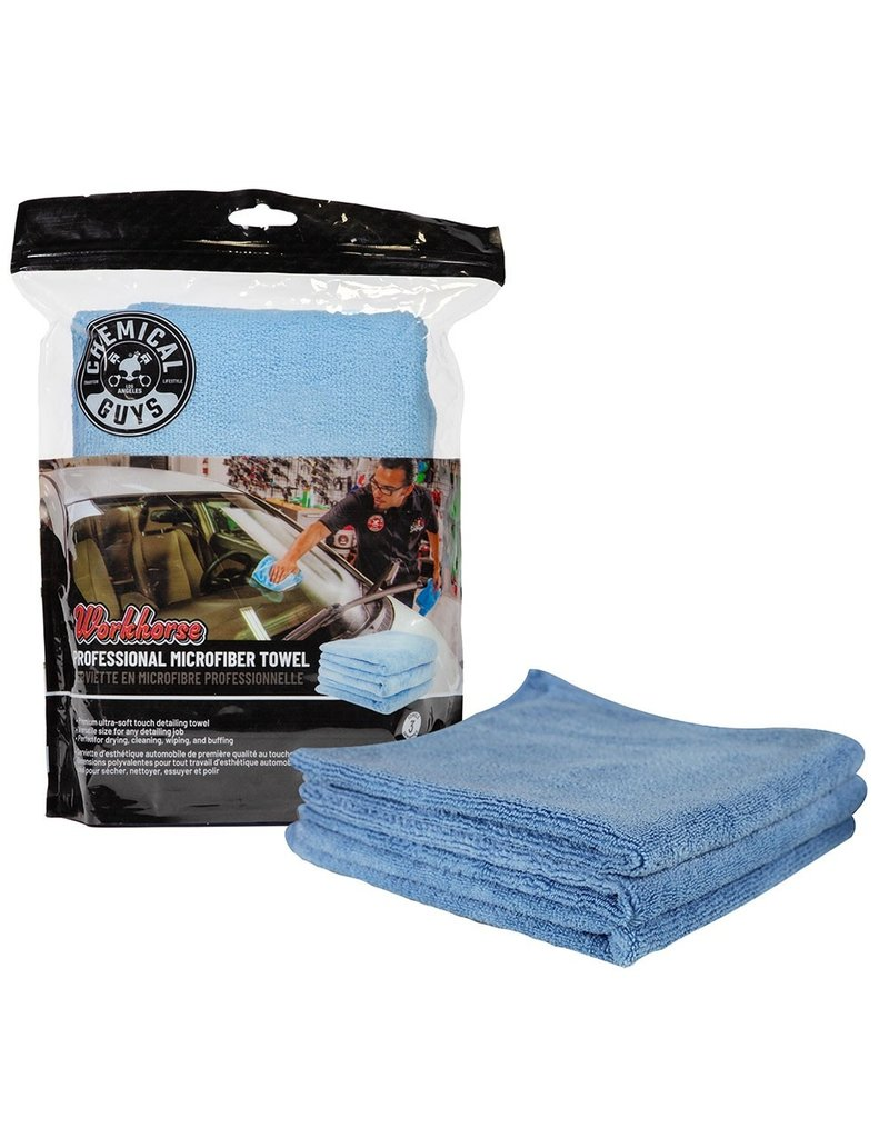 """Chemical Guys MICBLUE03 - Workhorse Professional Microfiber Towel, Blue 16"""" x 16"""" (3 Pack)"""