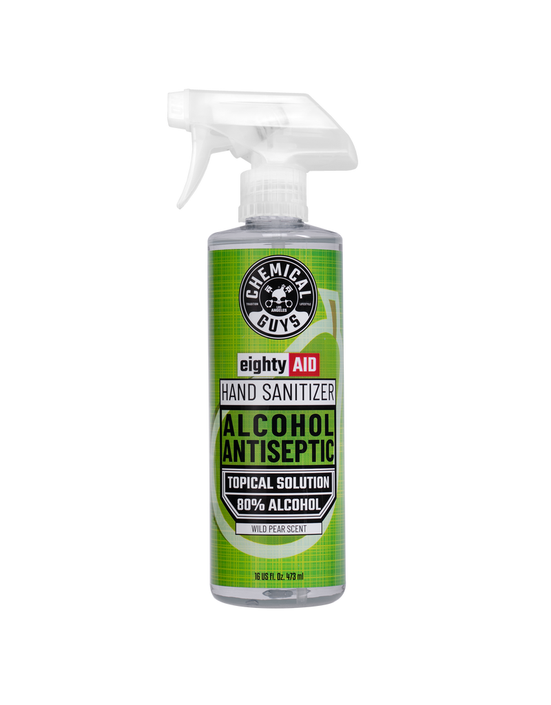 Chemical Guys HYG10516 - Chemical Guys eightyAIDWild Pear ScentHand Sanitizer Alcohol Antiseptic 80% Topical Solution (16 oz)