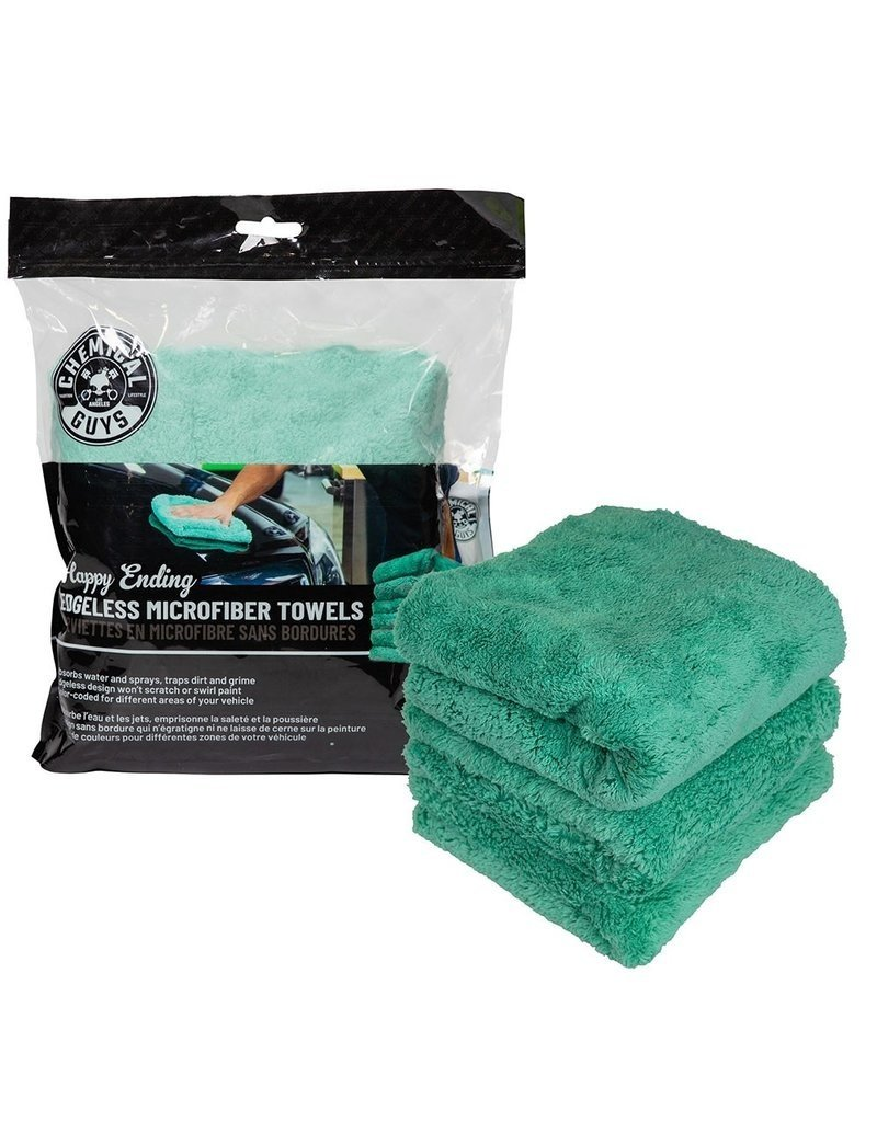 "Chemical Guys Happy Ending Ultra Plush Edgeless Microfiber Towel, Green 16"" x 16"" (3 Pack)"