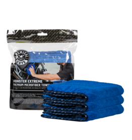 """Chemical Guys MIC110003 - Monster Extreme Thickness Premium Microfiber Towel, Blue 16"""" x 16"""" (3 Pack)"""