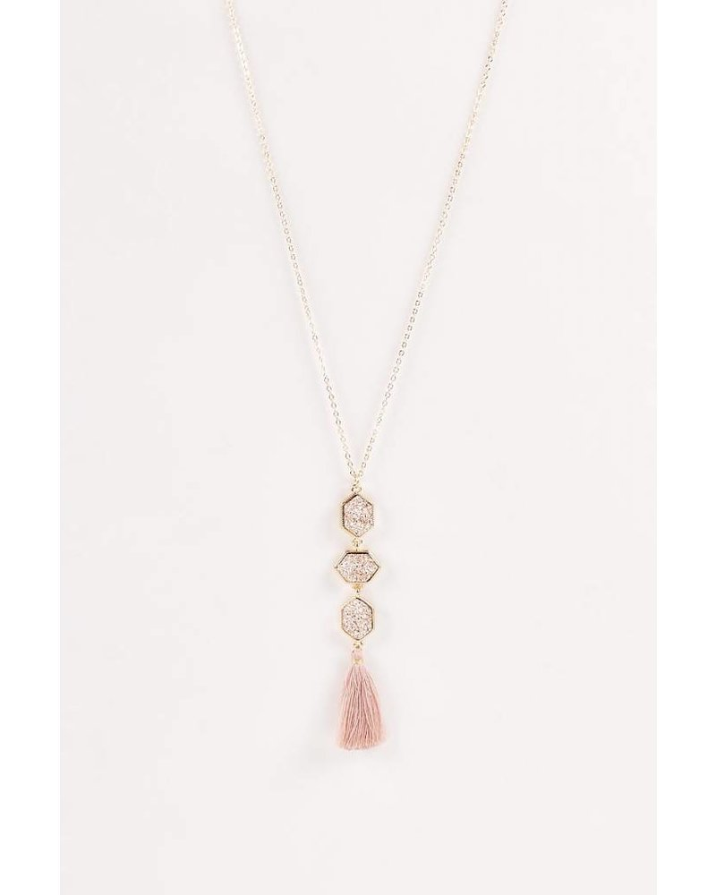 Aspen Druzy Necklace- Rose Gold