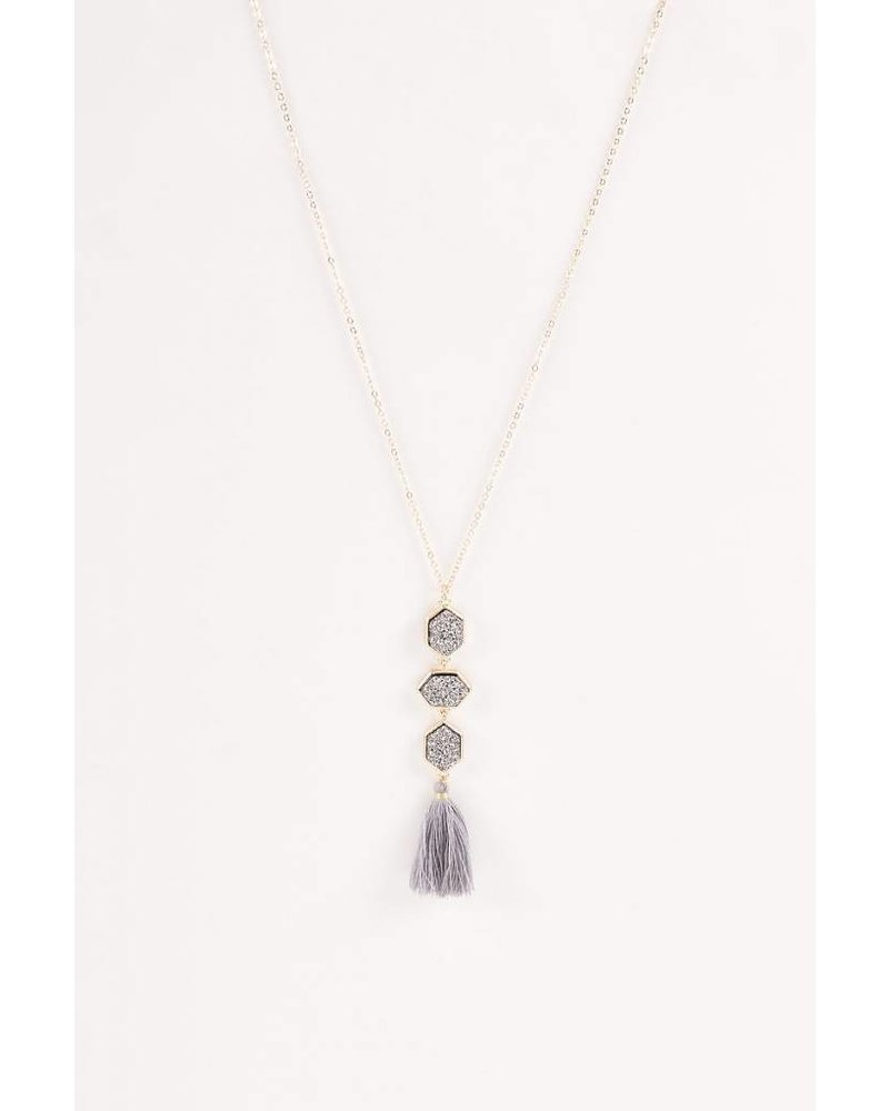 Aspen Druzy Necklace- Gray