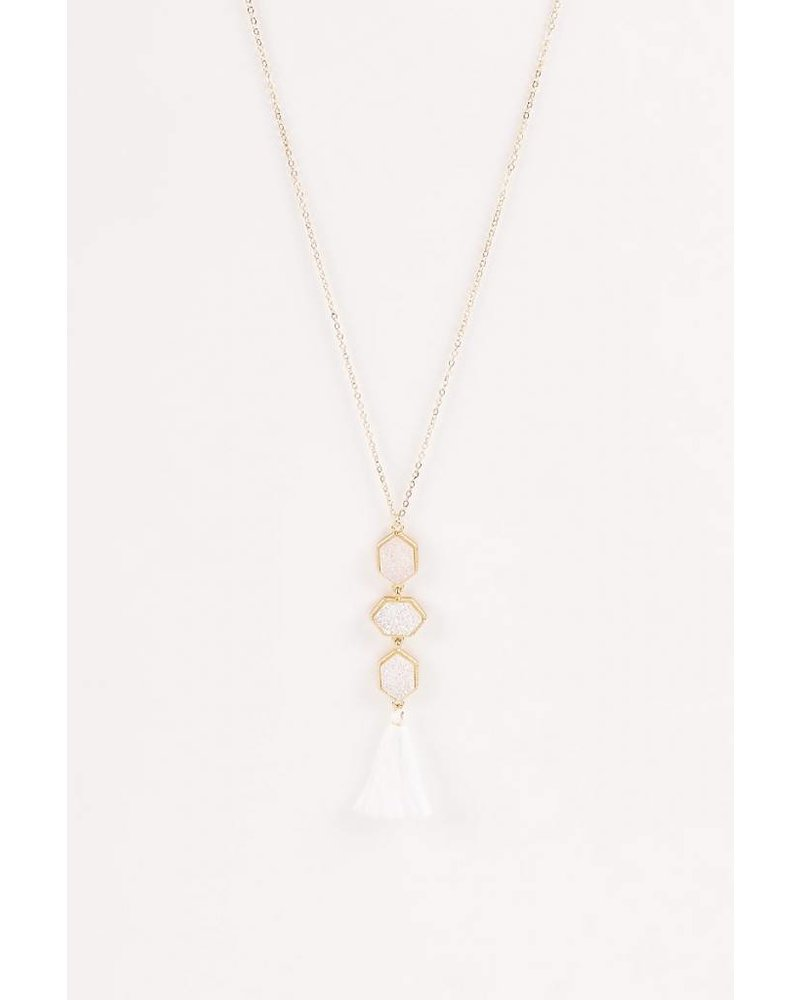 Aspen Druzy Necklace- White