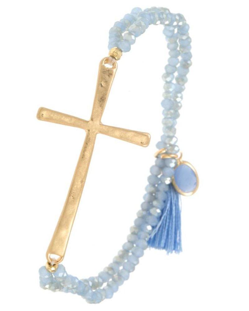 Beaded Cross Bracelet- Blue