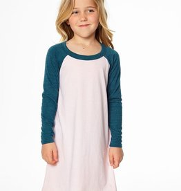 Chaser Brand Blocked Jersey Baseball Raglan Mini Dress in Pearl and Emerald for Girl