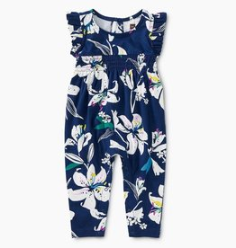 Tea Collection Tropical Lilies Flutter Romper in for Baby Girl