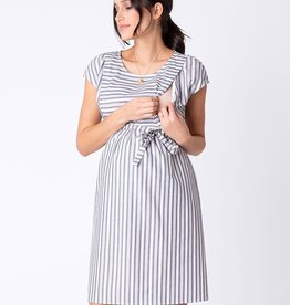 Seraphine Presley Cotton Stripe Maternity & Nursing Dress